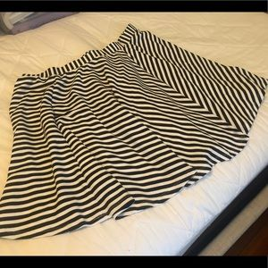 NWT torrid black and white striped a-line skirt